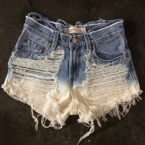 Levi's hand distressed dip dyed shorts